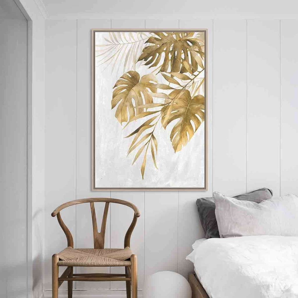 Gold Montersia Leaf Natural Frame | Wall Art | The Design Store NZ