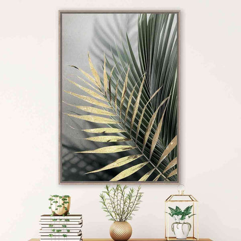 Gold With Green Palm Frond | Wall Art | The Design Store NZ