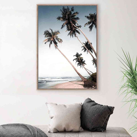 PRE ORDER Leaning Palms Beach | Wall Art | The Design Store NZ