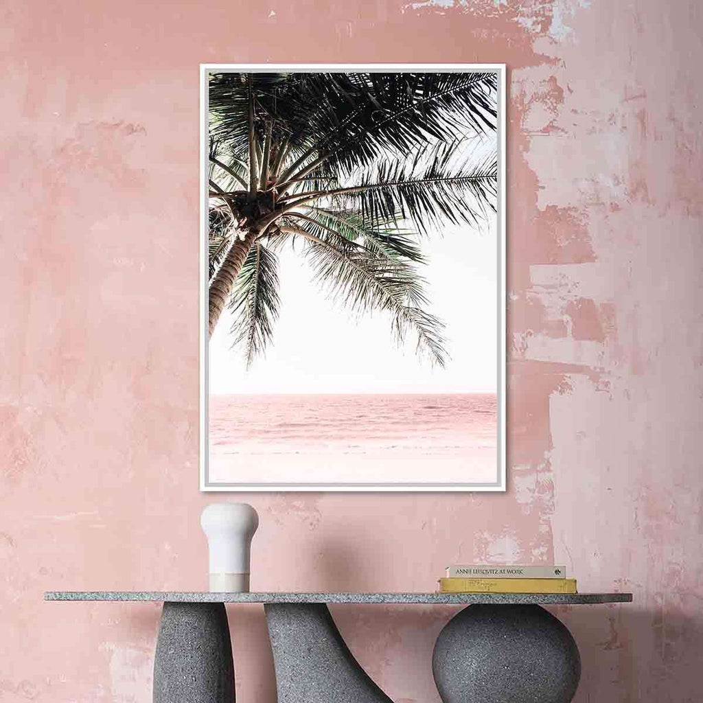 Pink Beach Under Single Palm | Wall Art | The Design Store NZ