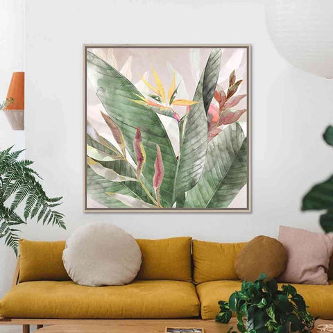 Pink Green Floral Natural Frame | Wall Art | The Design Store NZ