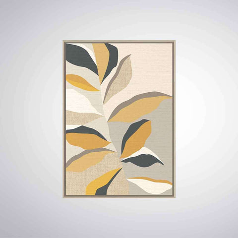 Retro Beige Leaf Natural Frame | Wall Art | The Design Store NZ