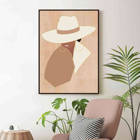 Retro Lady White Hat | Wall Art | The Design Store NZ