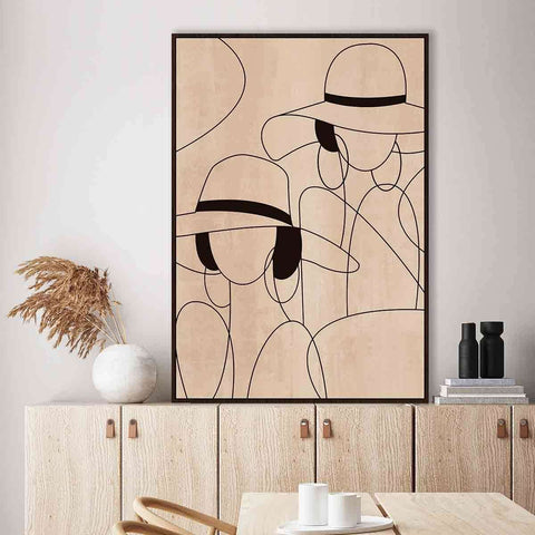 PRE ORDER Twin Ladies Black Band Hat | Wall Art | The Design Store NZ