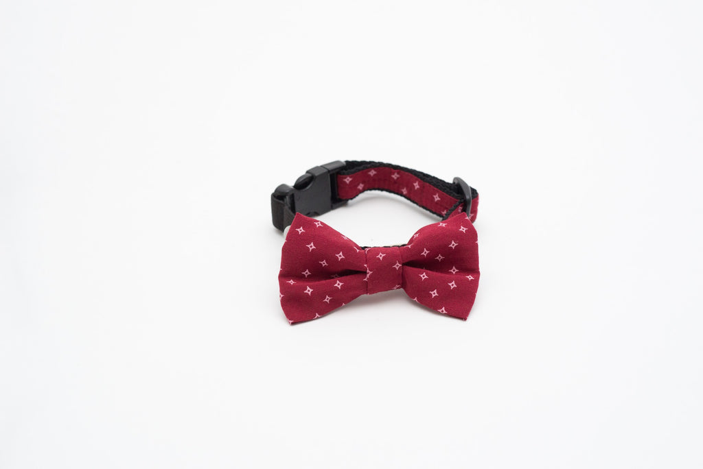 Burgundy Spark Bow Tie Collar with Elastic Safety Strip by Pinzael
