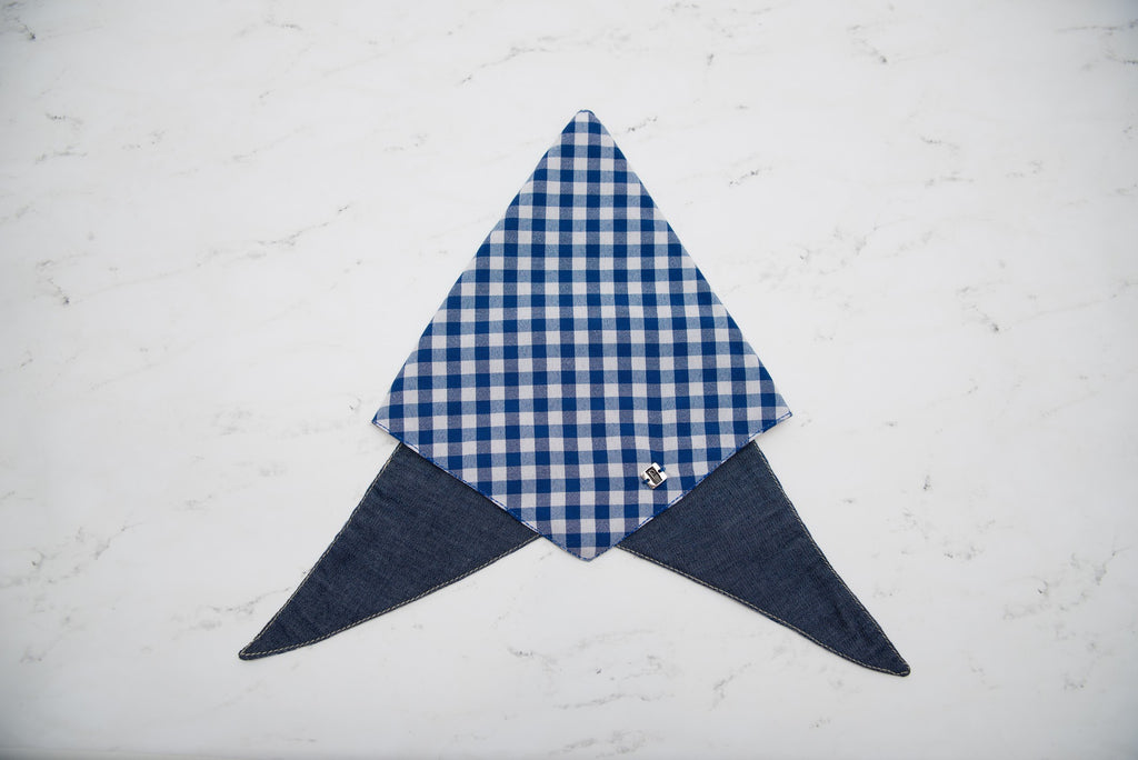 Bandanas - Dog Bandana - blue Square Double Sided Bandana | LuxyPaws Pet Boutique