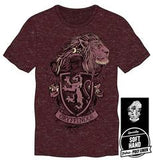 Harry Potter Hogwarts House of Gryffindor Crest & Lion Men's Burgundy T-Shirt