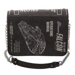 Han Solo Millenium Falcon Scoundrels and Outlaws Keychain, PU Leather with Metal Back, Disney Star Wars Stamped Design