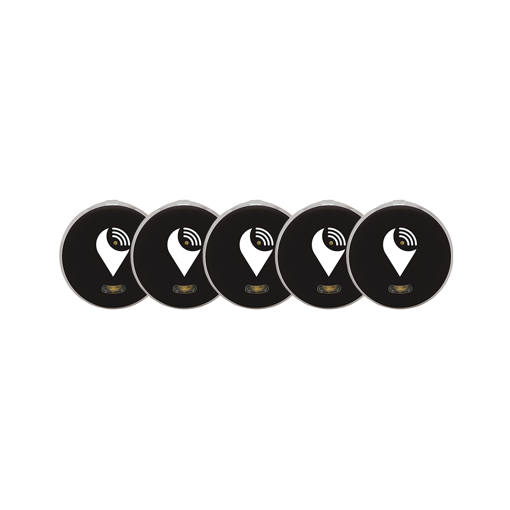 TrackR pixel - Bluetooth Item Finder - Black (5-pack) Colorful Bluetooth tracking device that helps find your bag, keys, and remotes. Save time and money, while adding color to fashionable items you care about.