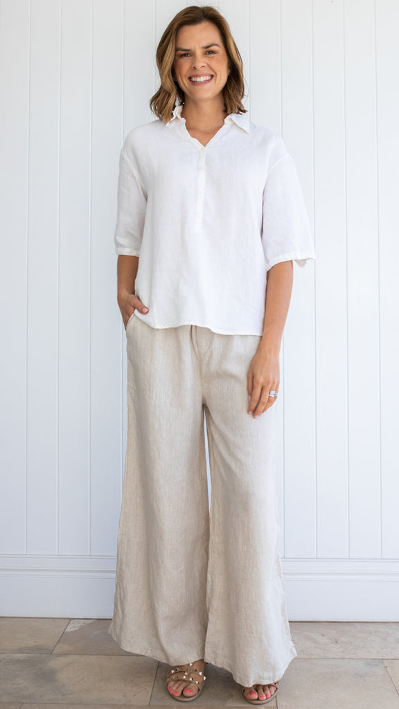 Liberty Linen Pants (Beige)
