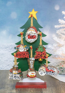 Santa Greetings Orn 19157 - 6 assorted ornaments - Stand not included - DecoExchange