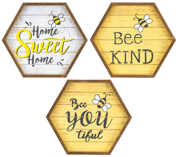 Bee You Bee Kind Hexagon Sign 3 Asst 60004 60004