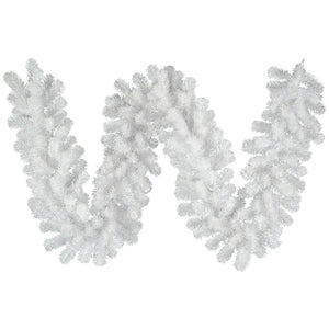 9' Artificial Garland Crystal White A805815 - DecoExchange