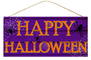 "Happy Halloween Sign 12.5""Lx6""W Purple/Black AP8149 - DecoExchange"