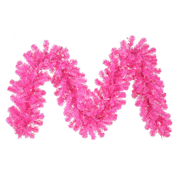 9' Artificial Garland With Mini Lights Hot Pink B981713