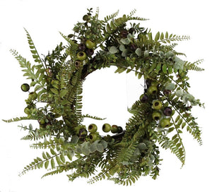 "28""Dia Foliage/Rose Hip Wreath Multi Green/Brown FG5592 - DecoExchange"