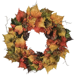 "30"" Grape Leaf Wreath, Autumn Wreath, Fall Wreath, Fall Front Door Wreath, Elegant Wreath, Wreath For Front Door - DecoExchange"