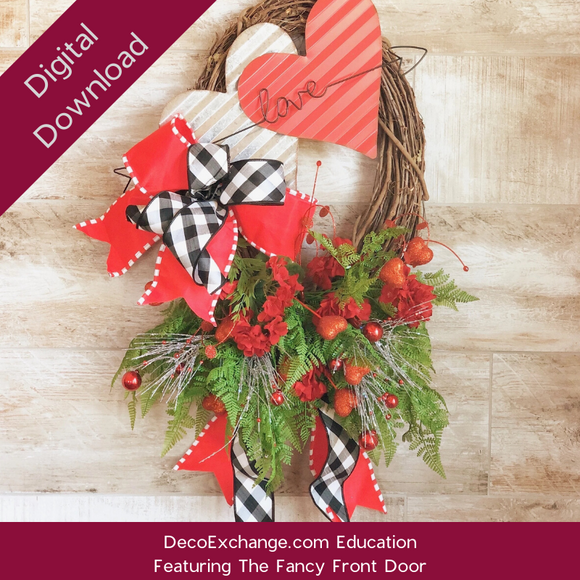 Valentines Asymmetrical Oval Grapevine Wreath Tutorial Featuring The Fancy Front Door - DecoExchange