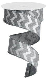 "1.5""X100FT SMALL CHEVRON/ROYAL GREY/SILVER RG30218N"