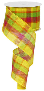 "2.5""X100FT WOVEN PLAID YELLOW/ORANGE/LIME/PINK RG03106J3"