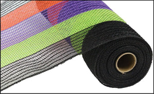 "10.5""X10YD POLY/FAUX JUTE WIDE STRIPE Black/Orange/Purple/Lime RY830176 - DecoExchange"