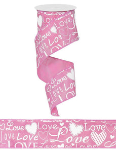 "2.5""X100FT LOVE FONT W/HEARTS PINK/WHITE RG370522"