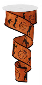 "1.5""X100FT BASKETBALL BLACK/DK ORANGE RG3065 - DecoExchange"