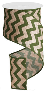 "4""X100FT WIDE CHEVRON/CROSS ROYAL BEIGE/MOSS GREEN RG302636"