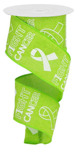 "2.5""X10YD FIGHT CANCER ON ROYAL Lime Green/White RGA1414E9 - DecoExchange"