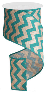 "4""X100FT WIDE CHEVRON PRINT BEIGE/TURQUOISE RG3026JH"