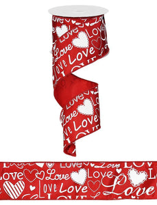 "2.5""X100FT LOVE FONT W/HEARTS RED/WHITE RG370224"