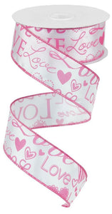 "1.5""X100FT LOVE FONT W/HEARTS WHITE/PINK RG369822"