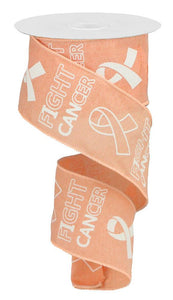 "2.5""X10YD FIGHT CANCER ON ROYAL Peach/White RGA141421 - DecoExchange"