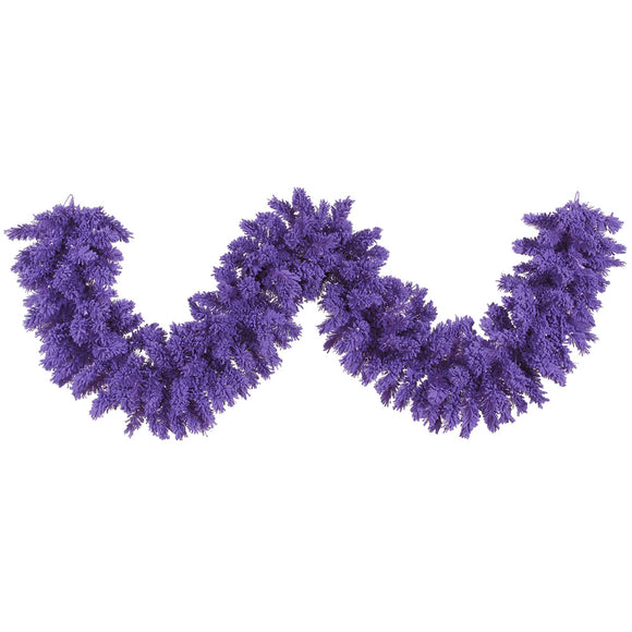 9' Artificial Garland Flocked Purple K168414