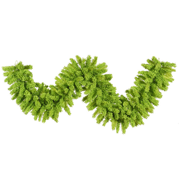 9' Artificial Garland Flocked Lime K168614
