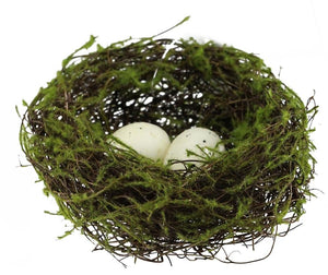 "5""Dia Angelvine/Flocking Bird Nest W/Egg Natural/Green/Beige KX2480"