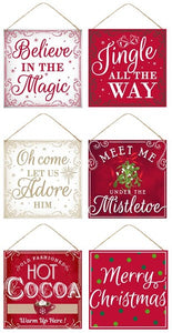 "12""Sq Tin Christmas Signs 6 Asst Styles MD0435"