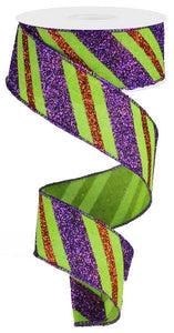 "1.5""X10yd Diagonal Glitter Stripe/Royal Lime/Purple/Orange RG017659K - DecoExchange"