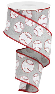 "2.5""X10Yd Glitter Baseball On Royal Lt Grey/Red/White RGA117110 - DecoExchange"