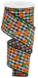 "2.5""X10Yd Carrots On Gingham Check Black/White/Orange/Green RGA1591X6 - DecoExchange"