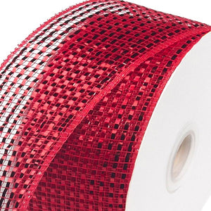 "4""X25Yd Wide Foil Mesh Red W/Red Foil RS205024 - DecoExchange"