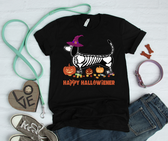 Happy Halloweiner, Happy Halloween, Halloween Dog Shirt, Weiner Dog Shirt, Dachshund Shirt, Short-Sleeve Unisex T-Shirt - DecoExchange