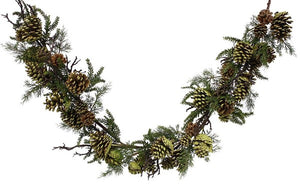 "57""L Pine/Twig/Pine Cone Garland Green/Brown XX1121 - DecoExchange"