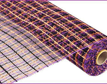 21 Inch Purple Black Orange Basket Weave Deco Mesh RE1056FK