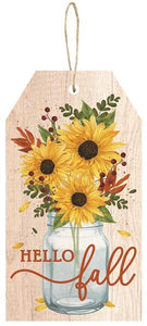 "12""H X 6.5""L Hello Fall Tag Sign Ivory/Yellow/Rust AP8794"