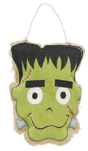 "16""H Burlap Frankenstein Door Decor Gr/Blk/Nat/Rd/Wht HH7309"