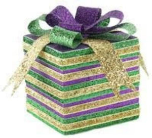"4.75""H GLITTER/VELVET STRIPED PACKAGE Mardi Gras XC831234"