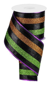 "4""X10YD GLITTER STRIPES BLACK/LIME/COPPER RG080328J"