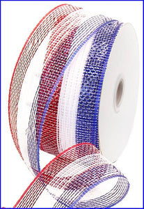 "2.5""X25Yd Red White Blue Stripe Red/White/Blue W/Foil RS2126H3 - DecoExchange"
