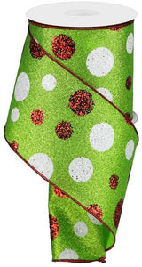 "4""X10Yd Giant Polka Dots Lime/Red/White RGA131333"